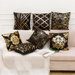 Gold Pillow Case Black And White Golden Painted Pillowcase Decorative Christmas Cushion Cover For Sofa Case Pillows