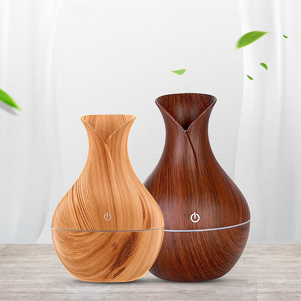 Essential humidifier USB mini mist maker Electric Air Fresheners Aroma oil diffuser wood grain air humidifier LED light for home