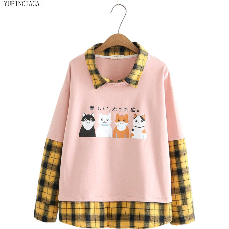 Women Sweatshirt Plaid Patchwork Cotton  Long Sleeve Preppy   Pullovers