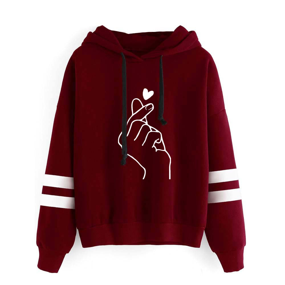 Finger Heart Love You  Sweatshirt Long Sleeve Women Hoody Outerwear