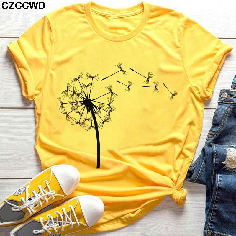 Womens Summer Wildflower Dandelion Print Tshirt
