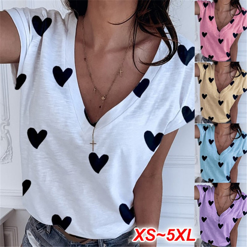 4XL 5XL Big Size Short Sleeve V-Neck Women Heart T Shirt Casual Loose Plus Size Tops 2020 New Summer Tee Shirt For Women Clothes