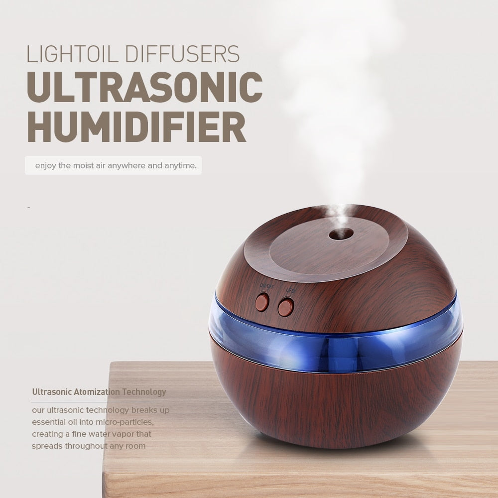 Essential Oil Diffuser Ultrasonic Humidifier With Blue LED Light Air Fresheners USB Essential Oil Diffuser Home Decoration