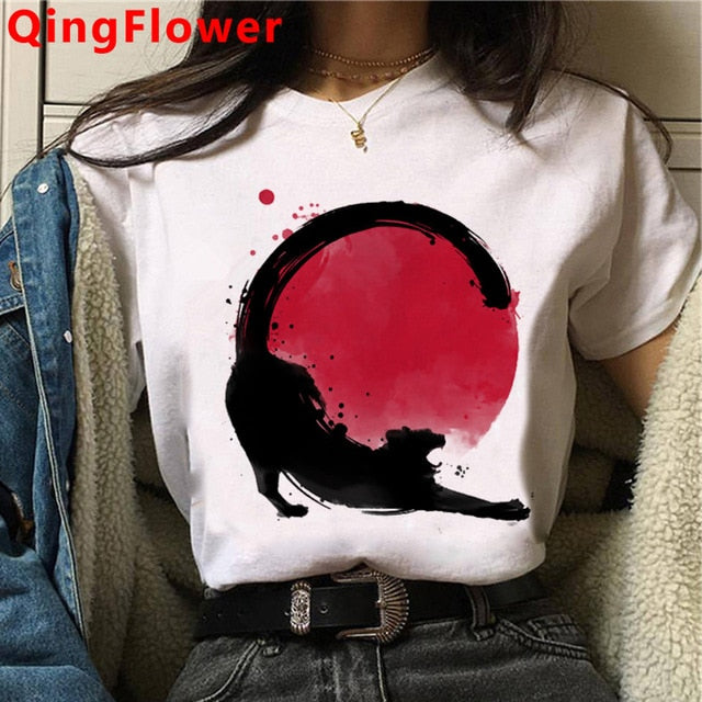 Cat Harajuku Funny Cartoon T Shirt Women Cute Anime Ullzang T-shirt Grunge Kawaii 90s Fashion Tshirt Korean Style Top Tee Female