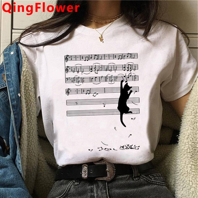 Cat Harajuku Funny Cartoon T Shirt Women Cute Anime Tee-Shirt