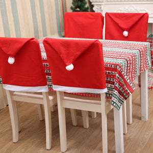 4/6pcs christmas chair covers Santa Claus Hat   Chair Back Covers