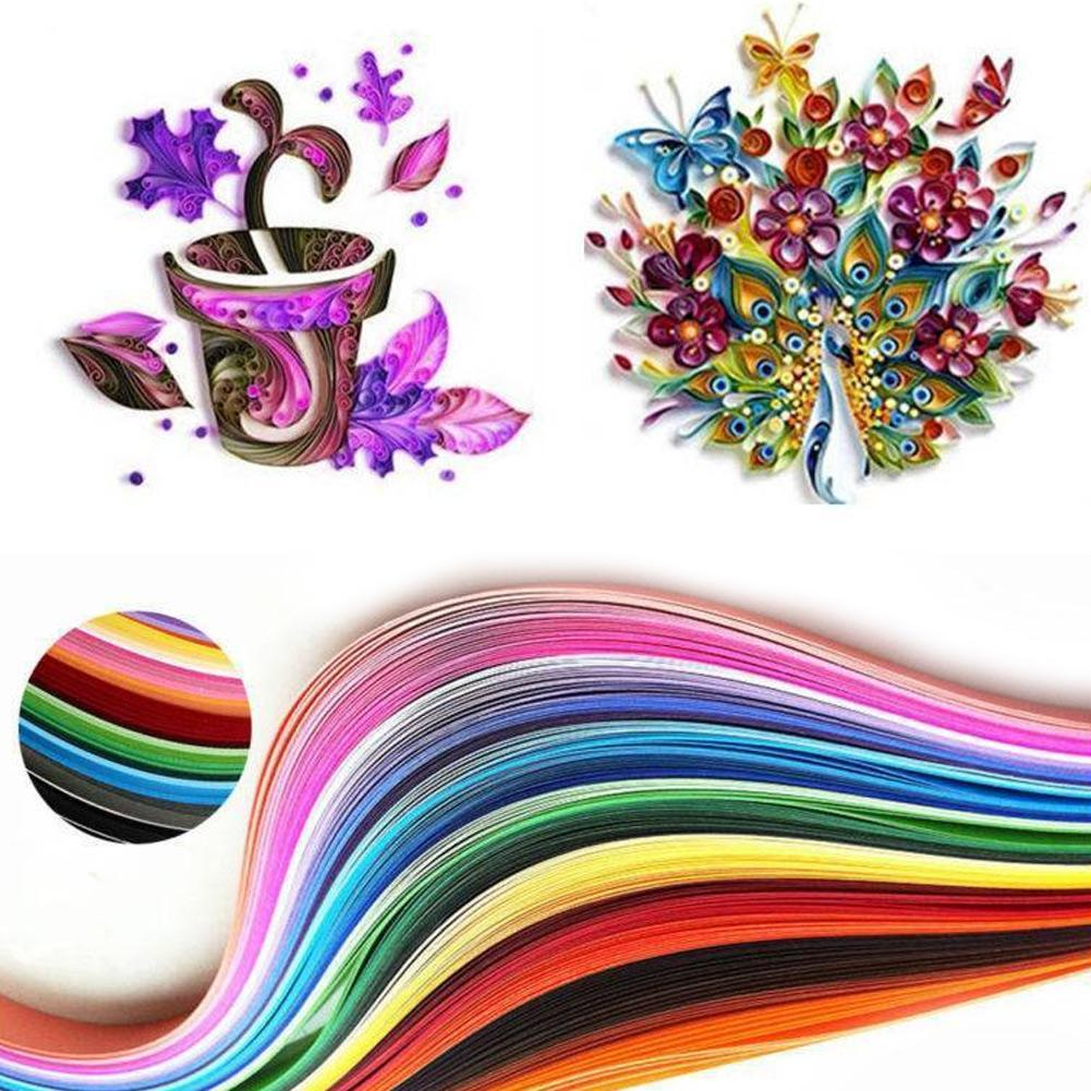 180 Strips 36 Mixed Color Paper Quilling Rolling Tool 3 Sizes 5mmx540mm/3mmx540mm For Papercraft