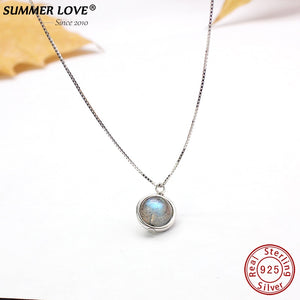 Genuine S925 Sterling Silver Labradorite Pendant Necklace For Women Fine Jewelry
