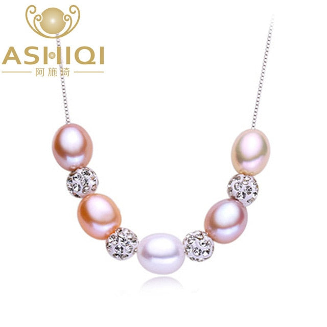 Sterling silver Pendant Real Multi Natural freshwater pearl necklace for women