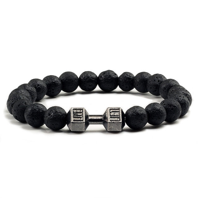 Natural Black Volcanic Lava Stone  Bracelet black Matte Beads  Women Men  Jewelry