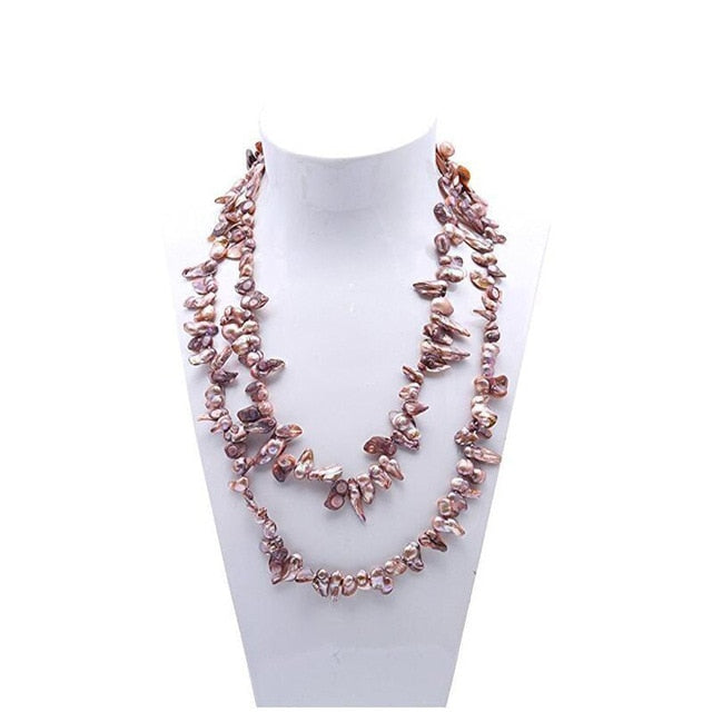 Long Pearl Necklace Teeth-shaped Freshwater Pearl Necklace Multicolor  Pearl Necklace 32 Inches jewelry