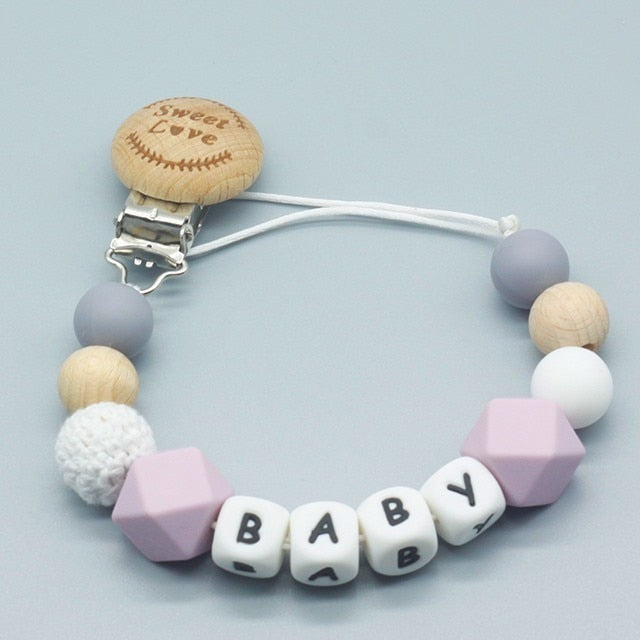 Personalized Name Silicone and Wood Pacifier Clips, Pacifier Chain for Nipples, Baby Shower Gift, Kids Teething Toy