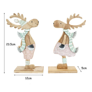 Christmas decoration for home 1 pair pink Christmas wood elk santa Deer Craft Ornament Navidad Happy New Year 2019 reindeer gift