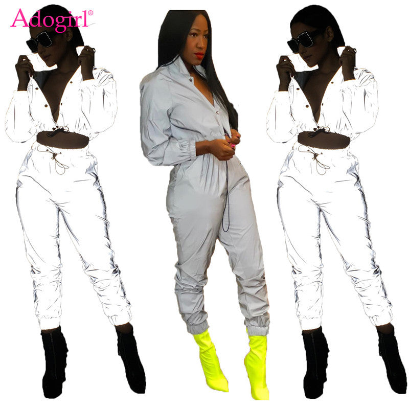 Adogirl Women  Reflective Tracksuit Night Version Buttons Turn Down Collar Crop Top + Casual Pants Two Piece anytime wear