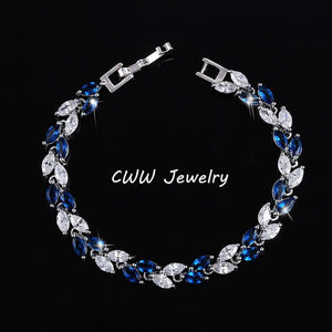 Cubic Zirconia Silver Leaf Charm Bracelets Bangles for Women CB060