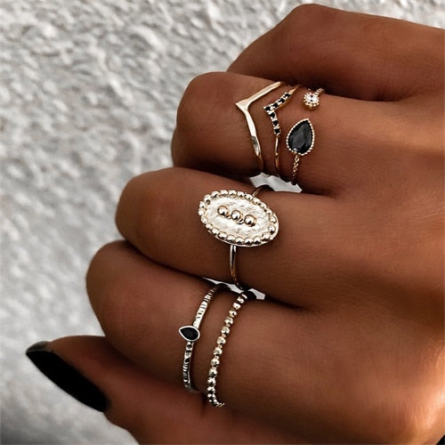 Vintage Gold Joint Ring Set for Women Crystal Personality Design Ring Set