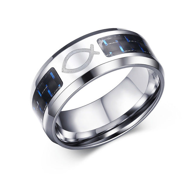 8mm Personalize Carbon Fiber Ring For Men Engraved Tree Of Life Stainless Steel Jewlery