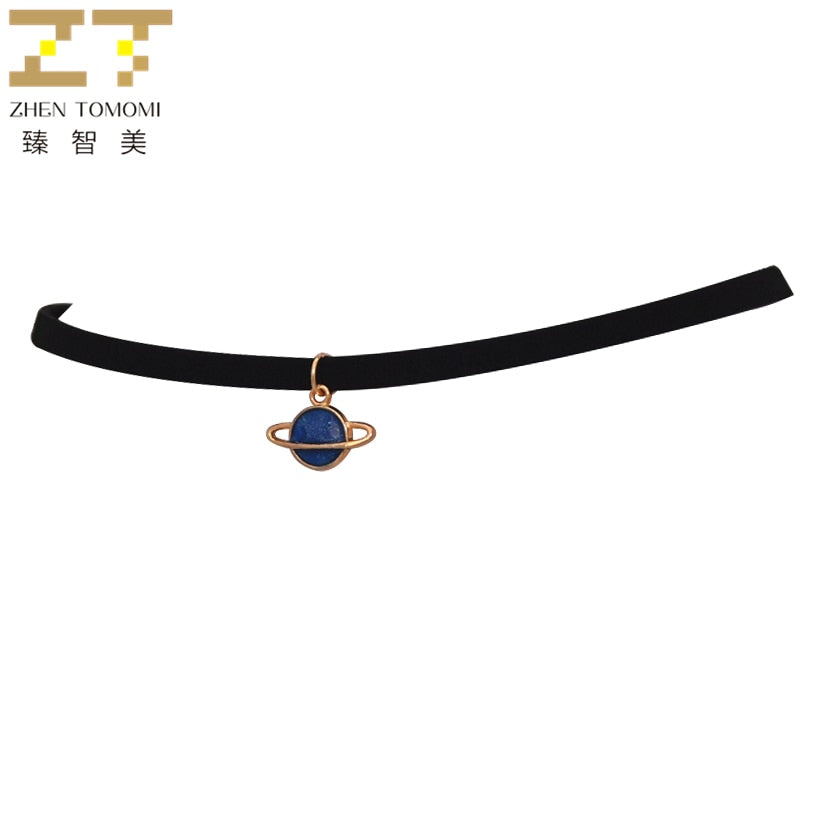 Torques Black Velvet Leather  Planet Pendants Chokers Necklace Women Jewelry