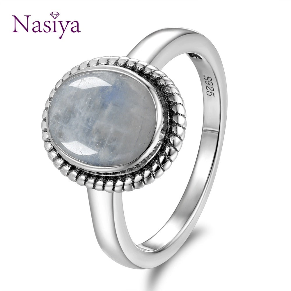 New Fashion 8x10 MM Oval Natural Moonstones Rings Women's Silver Jewelry Ring