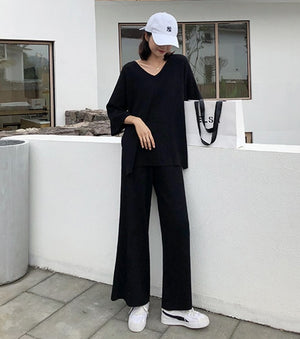 Women Two Piece Set Knitted Pullover V-neck Long Sleeve Top Wide Leg Pants  Suit anytime wear