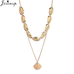 Jisensp Boho Seashell Pendant Necklace Natural Shell Gold Cowrie Choker Necklaces Tassel Chain Layered Necklace Collares joyas