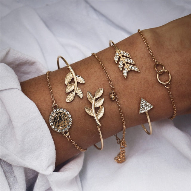 Bracelet Set for Women Chain Rope Various Charms Jewelry