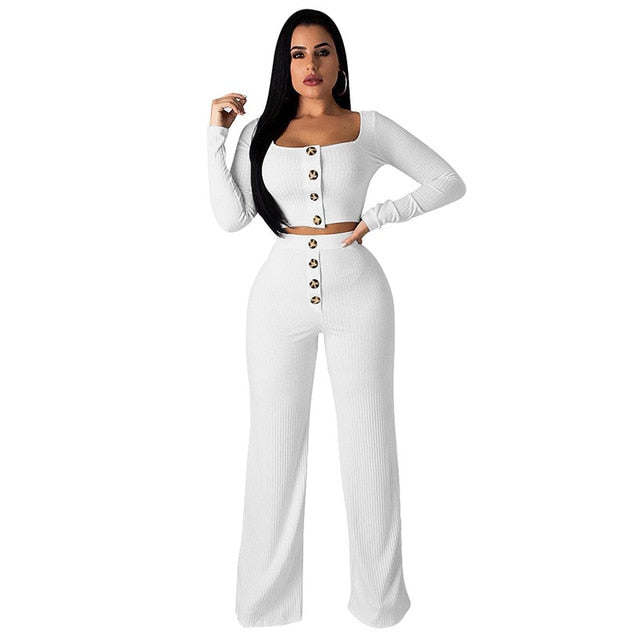 Women Knitted Rib 2 Piece Set Elegant Straight Pants  Anytime wear