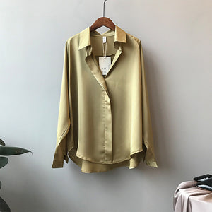 Long Sleeves Satin Blouse Shirt  V Neck  Elegant Imitation Silk Blouse ladies tops