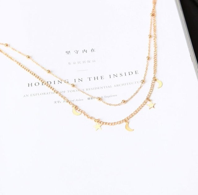 Jewelry  Gold Silver Chain Star Moon Necklace Set
