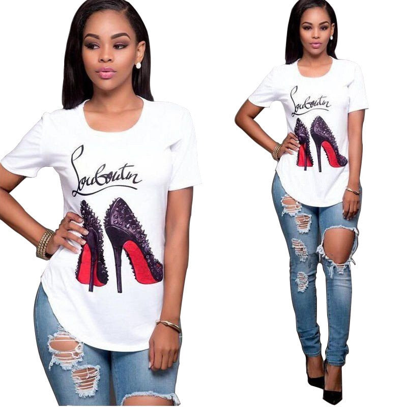 Women  T Shirt Printed Tee Tops Casual  Plus Size XS-4XL