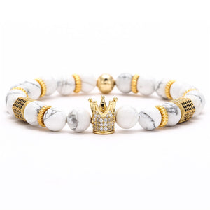 Cubic Zirconia Charm Bracelet Women Men Couple Stone Bead Bangles Jewelry