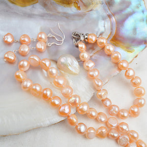 ASHIQI Natural Freshwater Pearl Jewelry Sets for Women 9-10mm Baroque Pearl NE+BR+EA
