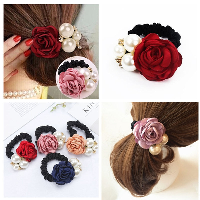 Fashion Women Rose Elastic Hair Bands Big Flower Rhinestones Imitation Pearls Flower Hair Rope Charms Rubber Hair Accessories