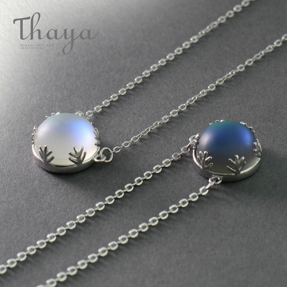 Aurora Pendant Necklace Halo Crystal Gemstone s925 Silver Scale Light Necklace for Women Elegant Jewelry