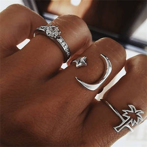 Joint Ring Set for Women Crystal Personality Design Ring Set Party Jewelry Gift