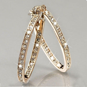Rhinestone Hook Earrings For Women  Silver/Gold Color Round Circle Loop Earring jewelry