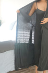 Trim Lounge Robe - Charcoal