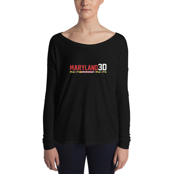 Maryland 3D Women's Long Sleeve Tee (Dark)