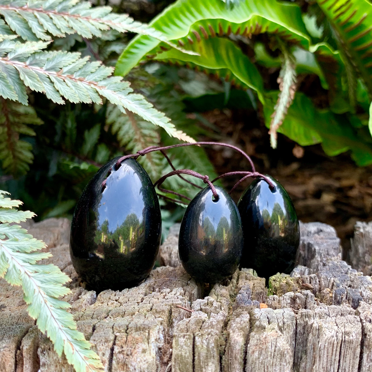 Black Obsidian Yoni eggs - Drilled Eggs