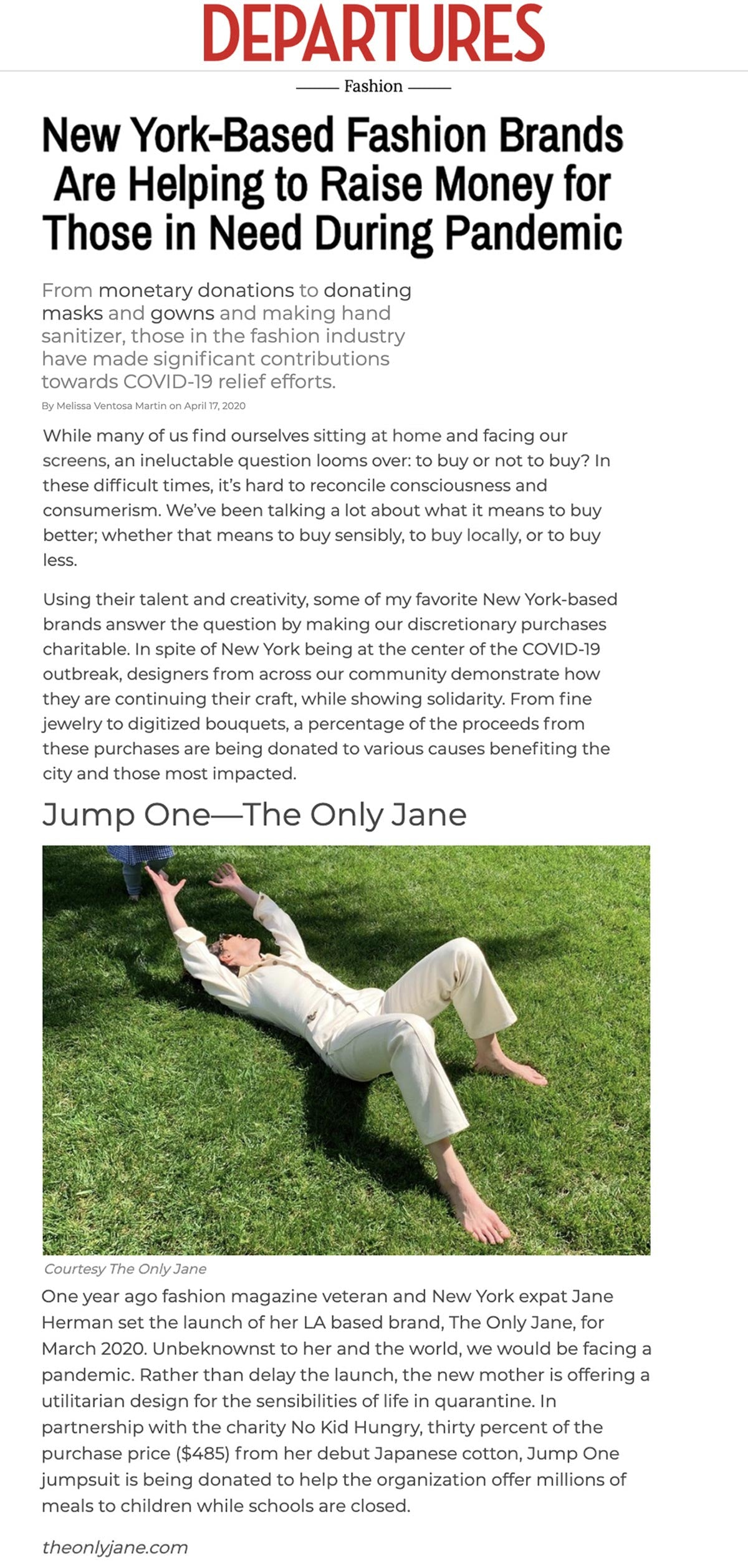 The Only Jane in the Press | Departures