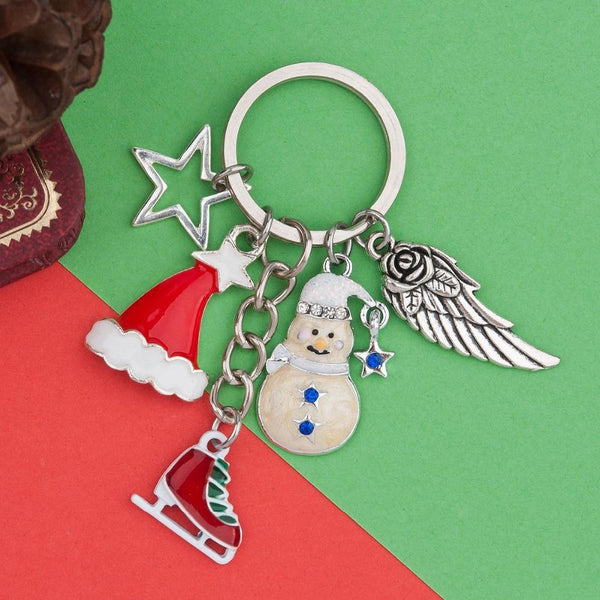 Zinc Based Alloy Silver Tone Key Chain Star Wings Christmas Hat Snowman Shoes Fashion Jewelry Christmas Series