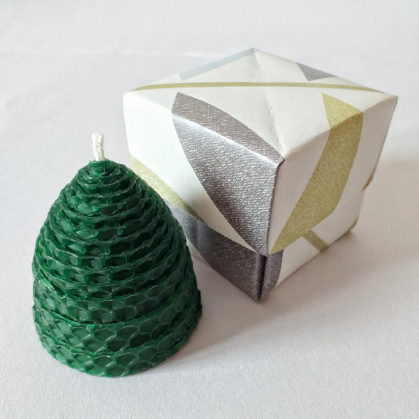 Small green beehive beeswax candle in handmade giftbox