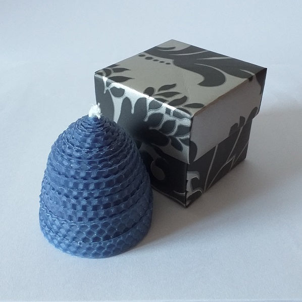 Handmade pure beeswax blue beehive candle in giftbox