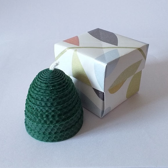 Handmade pure beeswax green beehive candle in giftbox