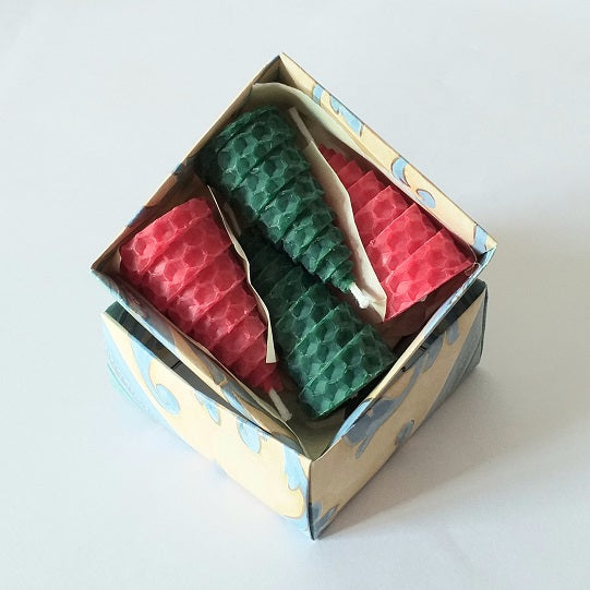 Red and green giftboxed baby tree candles