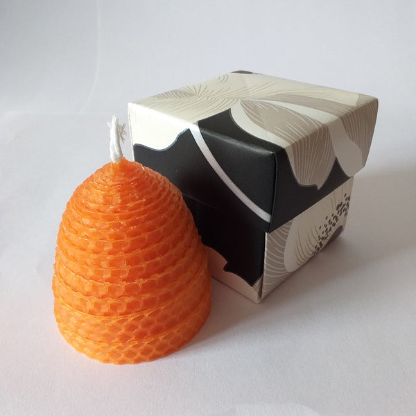 Handmade orange pure beeswax beehive candle in giftbox