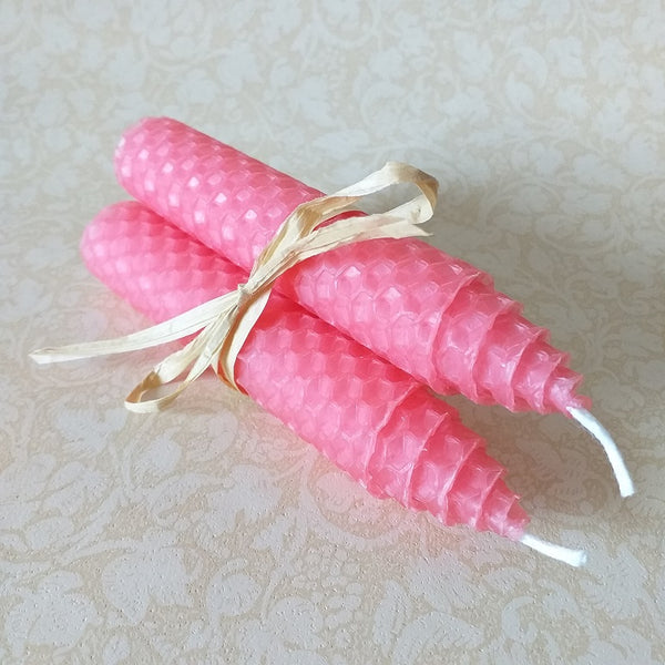 Handmade pink beeswax medium sized dinner candles