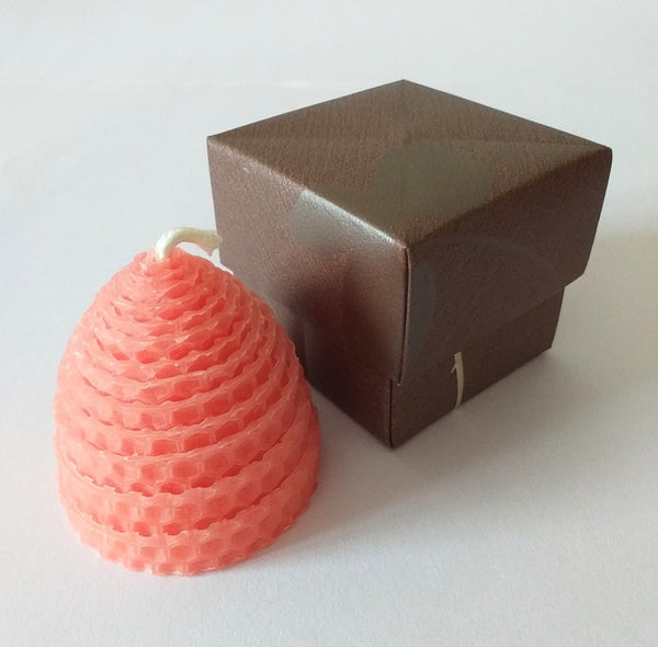 Small pink beehive beeswax candle in handmade giftbox