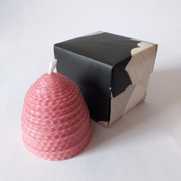 Handmade pink pure beeswax beehive candle in giftbox