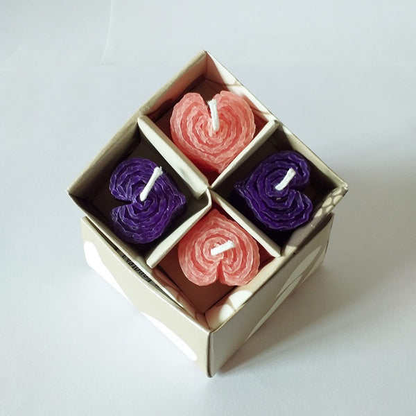 Giftboxed small heart shaped candles